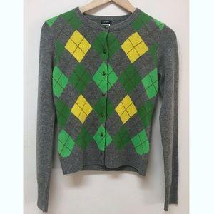 J. Crew Cardigan Sweater Argyle Cashmere Blend XS